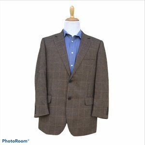 JOS A BANK 42R Blazer Brown Houndstooth Windowpane